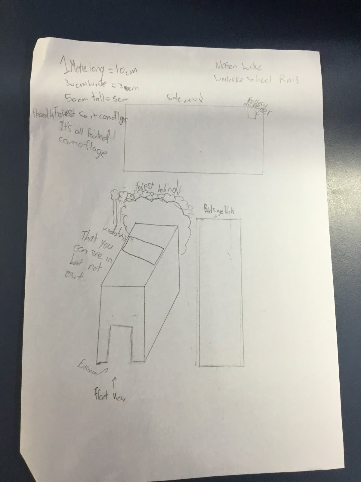 Mason and Luke's design with two way glass.