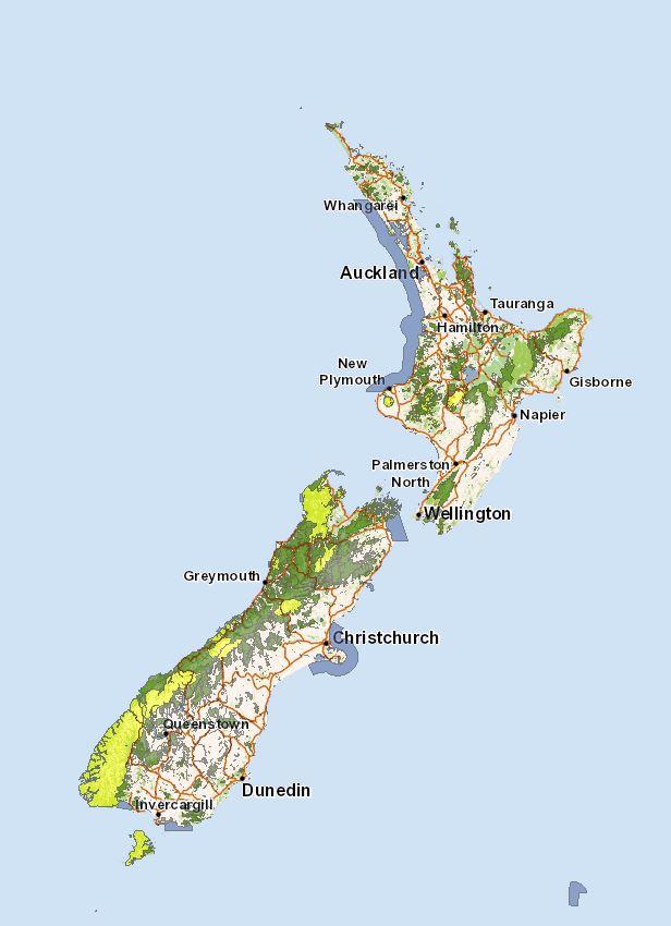 Map Of New Zealand Christchurch.Public Conservation Land In New Zealand Kiwi Conservation Club