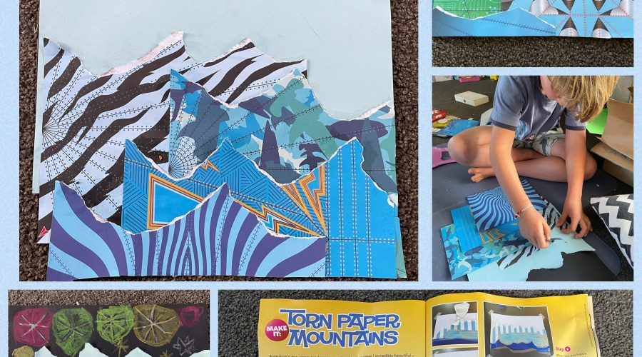 Torn paper mountains -by Rourke (age 7)